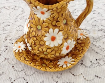 Vintage Retro Relpo Daisy Pitcher and Plate 5996