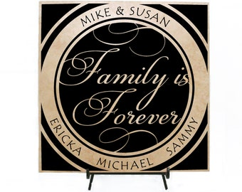 Family is forever sign, Personalized Wood Sign, Personalized Tile Custom Tile, Family Tile, Personalized Gift, Anniversary