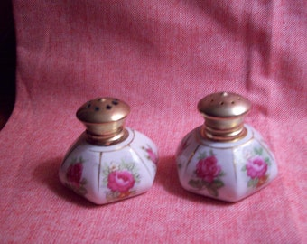 Vintage IRICE Six Sided Porcelain Salt and Pepper Shakers