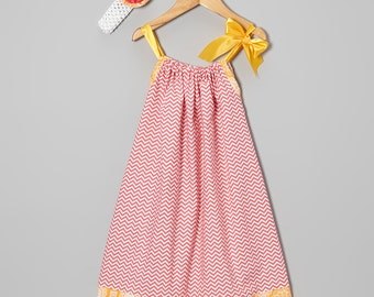 Pillowcase Dress.....Tangerine and Pink Chevron Pillowcase Dress