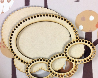 Oval Delight One , MDF laser cut Frame , crafting