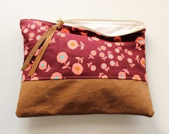 Vintage Maroon Floral Fabric and Repurposed Suede Zipper Pouch Clutch, 10""