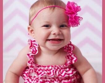 Hot pink chevron romper - 1st birthday romper - newborn chevron romper - newborn pink romper - toddler chevron romper