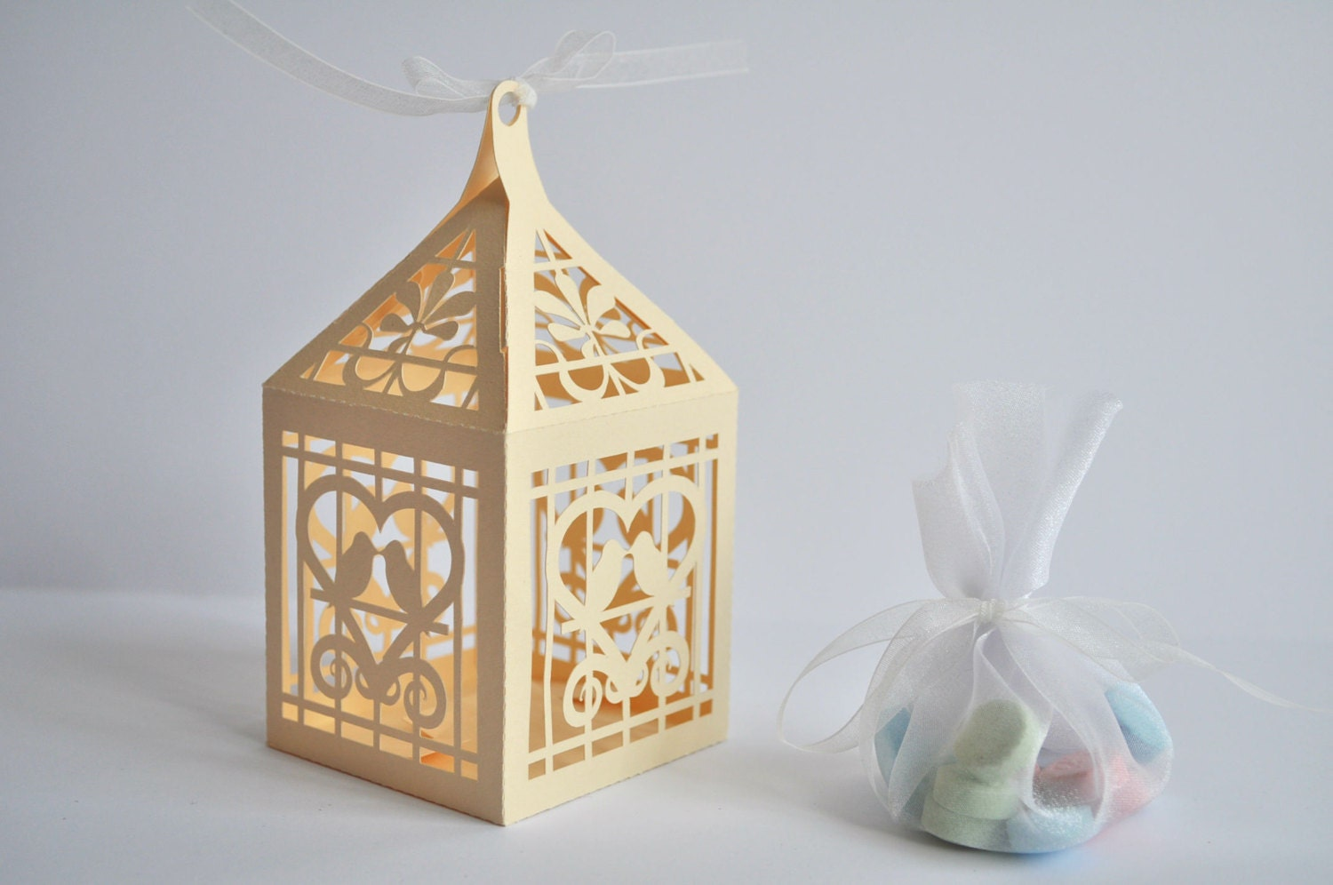 Love Birds Lantern Favor Box or Gift Box: SVG file by bypixiedust