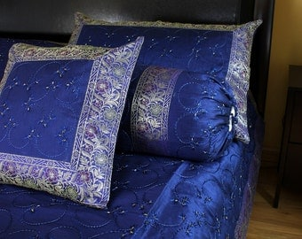 Hand Embroidered 7 Piece Duvet Cover Set - Blue - Queen Size