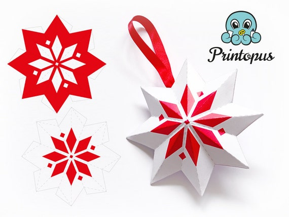Items similar to printable christmas star ornament pdf