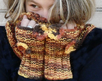 Yellow-brown melange hand knitted Cowl with Fingerless Gloves Mittens
