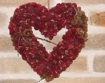 Red Hanging Heart of Dried Larch Cones