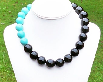 Black and Turquoise Necklace - Color Block Necklace Aqua Blue and Black Onyx - 20mm Round Gemstone Beaded Necklace