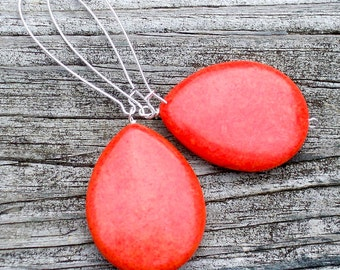 Yasmin - STUNNING Large Red Turquoise Howlite Teardrop Gemstone Silver Dangle Kidney Hoop Earrings - Coral Red, Red Orange