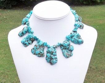 Adiena - Graduated Turquoise Nugget Gemstone Chip Beaded Necklace - Ethnic, Tribal