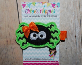 Halloween Spider Hair Clip - Cute Spider Hair Bow - Green Black and Orange Felt Spider Hair Clip Barrette - Spider Clippy for Toddler