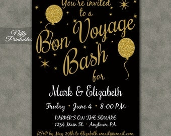 bon voyage invitations printable black gold bon voyage invites going away party invitation - Goodbye Party Invitation