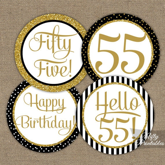 55th birthday cupcake toppers black gold 55 years bday for 75th birthday party decoration ideas