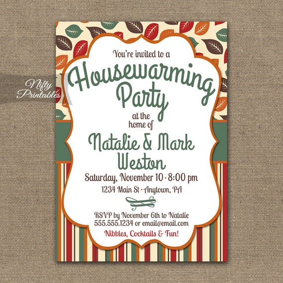 fall housewarming party invitations printable house warming, Party invitations