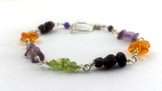 Mixed Gemstones Bracelet / Sterling Silver Wire Wrapped Bracelet