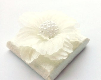 Winter Wedding Favors Chocolates with Unique Silk Flower, Bridal Shower Favors, Baby Shower Favors