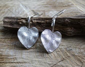 Leaf earrings, sterling silver