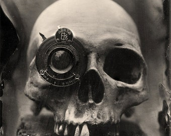 Wet Plate Collodion Photography Print - Skull with lens eye Still Life - Fine Art Print - Signed Print- Wall Art - 8.5x11 print