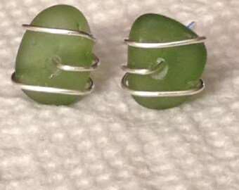 Kelly Green Sea Glass Sterling Silver Wire Wrapped Stud Earrings