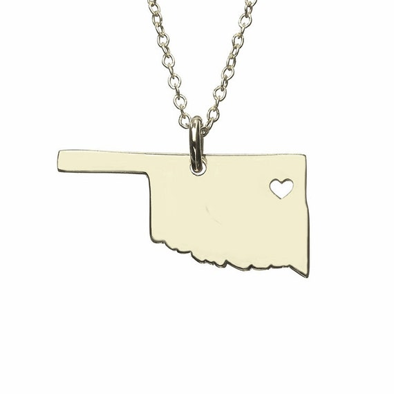 oklahoma state necklace map shaped necklace oklahoma