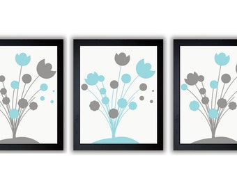 INSTANT DOWNLOAD Blue and Grey Printable Abstract Art Flower Print Wall Decor Modern Minimalist Bathroom Bedroom