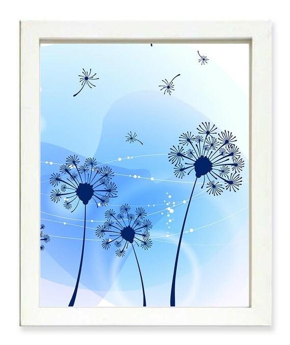 INSTANT DOWNLOAD Blue Navy Dandelion Abstract Art Flower