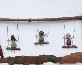 "Awesome Shadowbox Art - Made of Sticks and Stones - ""Swingin' Saturday"" - 6x14"