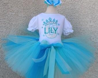 Frozen Aqua Queen Super Sparkly Inspired Birthday Tutu -Personalized Birthday Tutu,Sizes 6m - 14/16