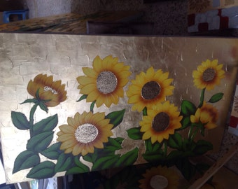 100%hand painted Sunflower art oil painting ED140602