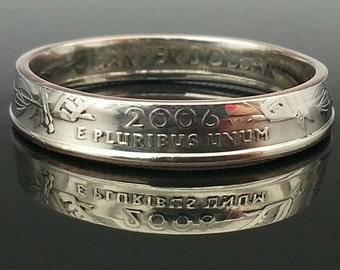 Nevada Quarter Dollar State Coin Ring Size 10.5