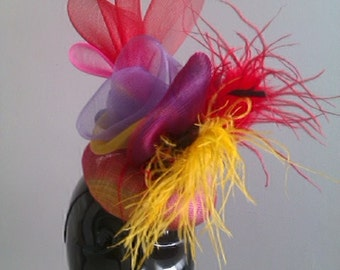Multi Colour Crinoline Fascinator / Sinamay Base With Ostrich Feather hat /weddings/ ascot /races