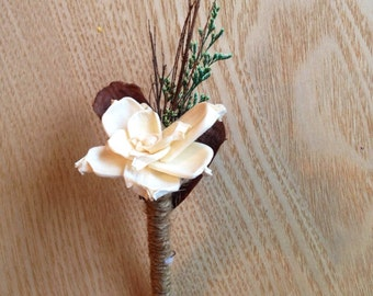 Rustic and Elegant Boutonnière, Sola Flower Bout, Rustic Wedding