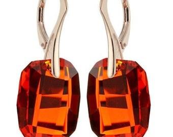 14k Rose Gold Over 925 Sterling Silver Graphic Swarovski Leverback Earrings
