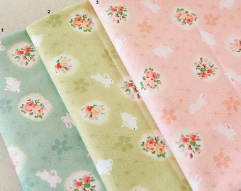 Cotton Fabric Rabbit & Flower in 3 Colors