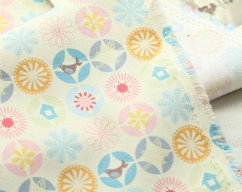 Oxford Cotton Fabric Bird Ivory By The Yard