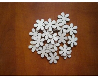 Set of 30 wooden flowers