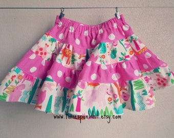 Pink Polka Dot and Animal Print Toddler Girls Skirt, Twirly Skirt, Polka Dot Skirt, Ruffle Skirt, Girls 4-Tiered Skirt, 2T, 3T, 4T, 5T Girls