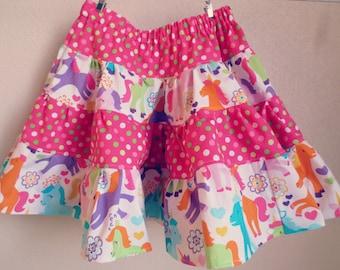 Pink Polka Dot and Unicorn Print Toddler Girls Skirt, Twirly Skirt, Unicorn Skirt, Ruffle Skirt, 2T Skirt, 3T Skirt, 4T Skirt, 5T Skirt