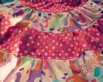 Pink Polka Dot and Unicorn Print Girls Skirt, Twirly Skirt, Unicorn Skirt, Ruffle Skirt, Girls 4-Tiered Skirt, Girls Size 6-14/16