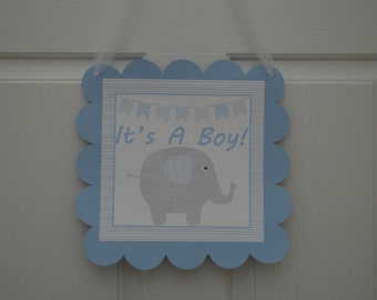 Elephant Baby Shower Door Sign - Blue and Gray