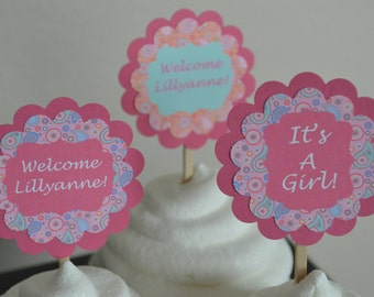 Paisley Baby Shower Cupcake Toppers - Paisley Theme - Set of 12