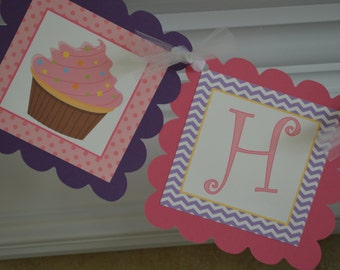 Cupcake Birthday Banner - Pink Cupcake - Cupcake Shower - Cupcake Theme - Pink, Purple, Blue - Party Packs Available