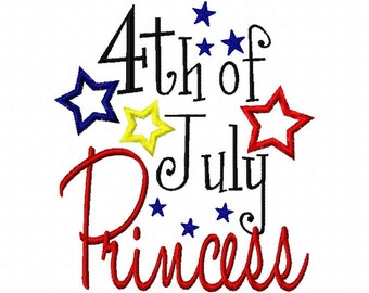 4th of July Princess Patriotic Fourth of July Applique Machine Embroidery Design 4x4 and 5x7