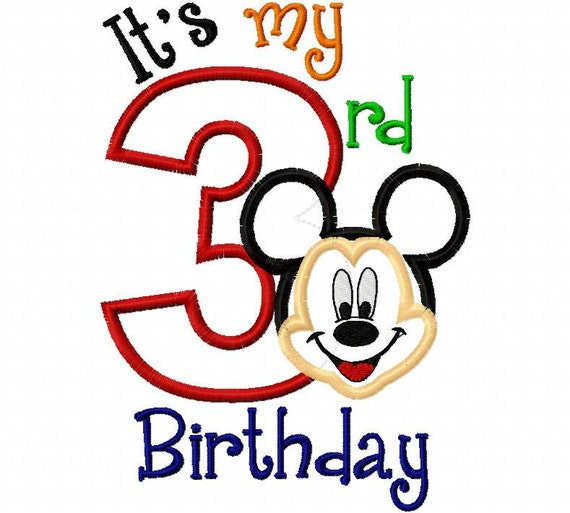 My First Birthday Mr. Mouse Full Face third three 3  Applique Design Applique Machine Embroidery Design 4x4 and 5x7 mickey