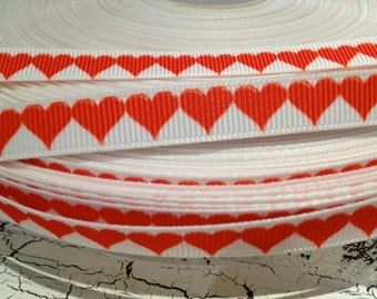"3 yards 3/8"" RED VALENTINE HEART on White Grosgrain Ribbon"