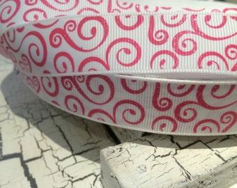 """3 YARDS 7/8"""" Glitter Hot Pink Swirl Loops on White BLING Grosgrain Ribbon"""