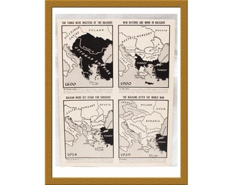 "1939 Vintage B&W Print / Map Balcans Transformation 1600 to 1930s / 9"" x 12"" / Buy 2 ads Get 1 FREE"