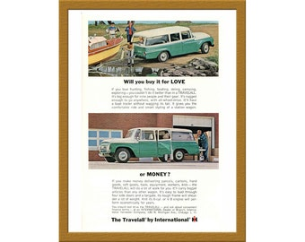 "1964 The Travelall Car Color Print AD / Will you buy it for love or money? / 6"" x 9"" / Original Advertisement / Buy 2 ads Get 1 FREE"