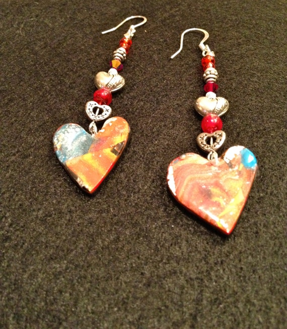 Handmade earrings with contemporary multicolor polymer clay heart charm, red glass and silver/silver plated heart beads.